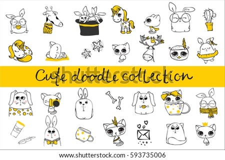 Cute doodle collection. Simple design of cute animals, birds and other design elements perfect for kid's card, banners, stickers and other kid's things.