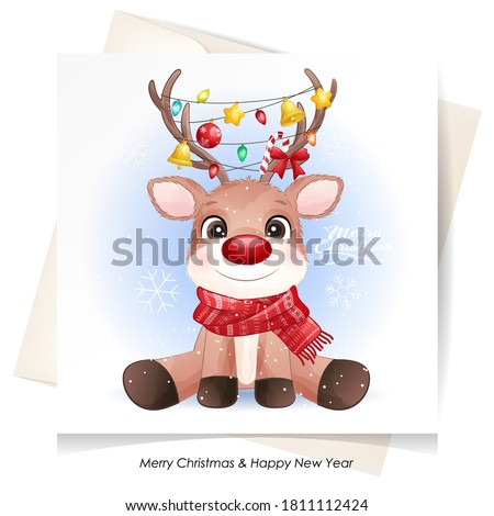 Cute doodle deer for christmas with watercolor illustration