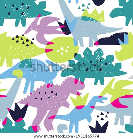 Cute doodle dino. Cartoon illustration dinosaur family. Vector abstract seamless pattern with cute dino in flat style