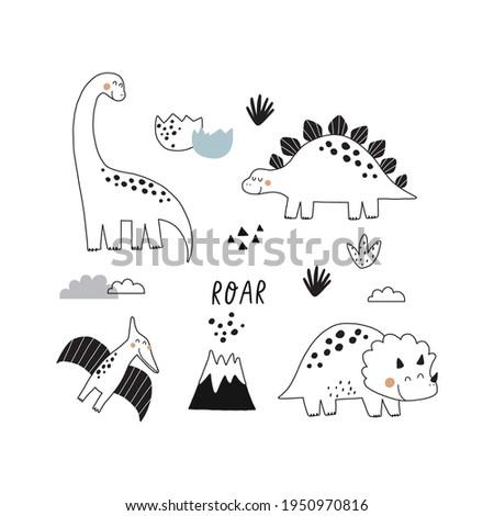 Cute doodle dino. Cartoon illustration dinosaur family. Vector print with cute dino in scandinavian style