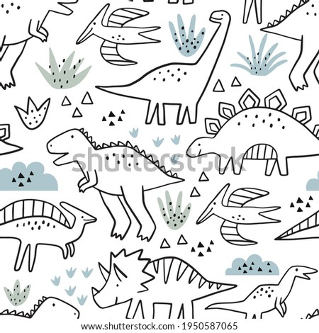 Cute doodle dino. Cartoon illustration dinosaur family. Vector seamless pattern with cute dino in scandinavian style