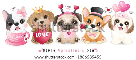 Cute doodle dogs for valentine's day collection