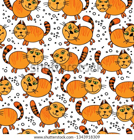 Cute doodle ginger cats pattern. Seamless background. Design element for fabric, gift wrap or wallpaper. Hand drawing style. #1343918309