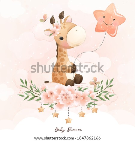 cute doodle giraffe with floral