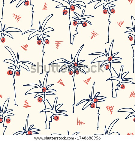Cute Doodle Hand Drawn Palms Hawaiian Beach Shirt Vector Seamless Pattern. Retro Surf and Beach Tropical Vacation Print for Fashion, Textile. Funky Playful Eighties Style Summer Background.