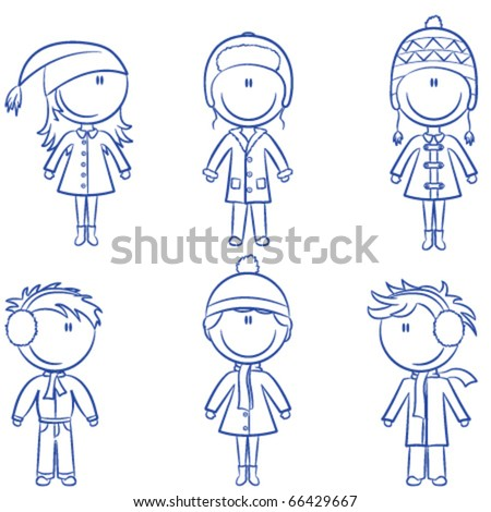 Cute doodle kids in winter clothes isolated on white background - stock vector
