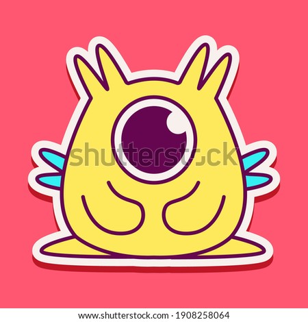 cute doodle monster designs  for coloring, backgrounds, stickers, logos, symbol, icons and more  Stock foto ©