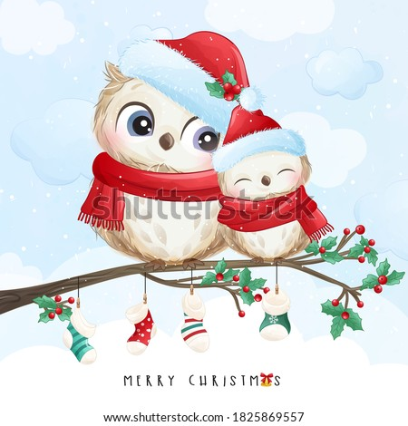 Cute doodle owl for christmas day with watercolor illustration