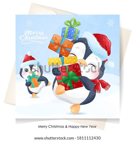 Cute doodle penguin for christmas with watercolor illustration