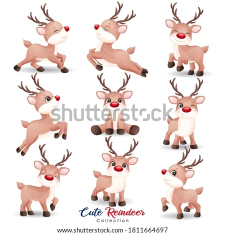 Cute doodle reindeer for christmas day with watercolor illustration