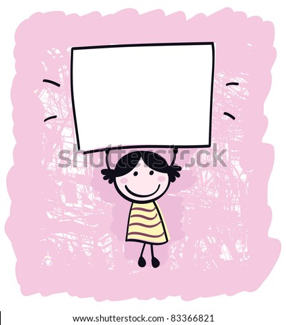 Cute doodle retro kid holding blank banner sign isolated on pink Happy cute little girl holding empty blank banner - cartoon illustration