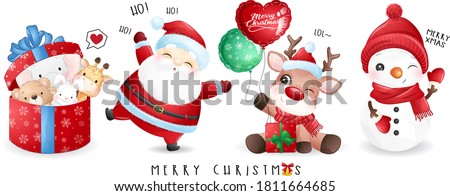 Cute doodle santa claus and friends for christmas day with watercolor illustration