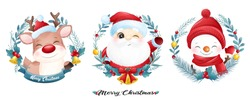 Cute doodle santa claus and friends for christmas with watercolor illustration