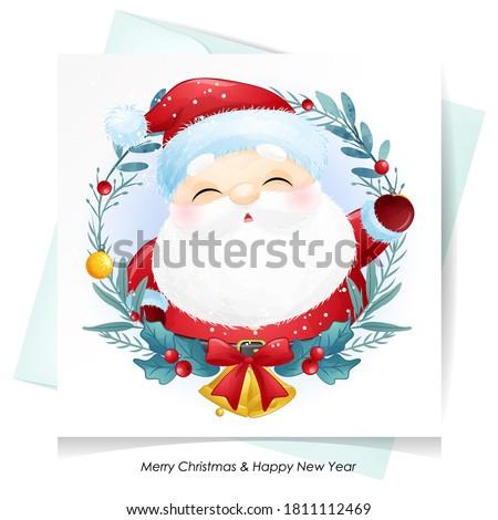 cute doodle santa claus for