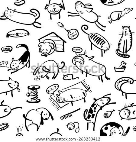 cute doodle seamless pattern