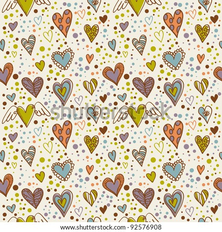Cute doodle seamless wallpaper with hand drawn Valentine hearts