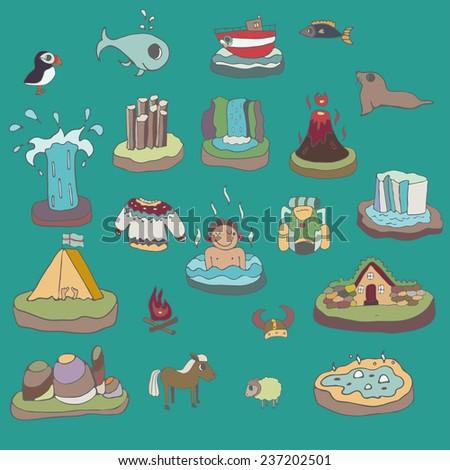 cute doodle set landmarks of