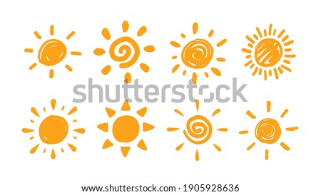Cute doodle sun collection. Hand drawn style illustration set.