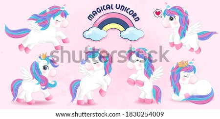 Cute doodle unicorn set with watercolor illustration Stock foto ©