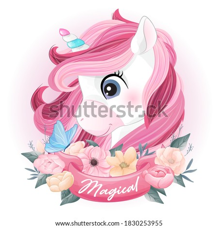 Cute doodle unicorn with watercolor illustration Stock foto ©