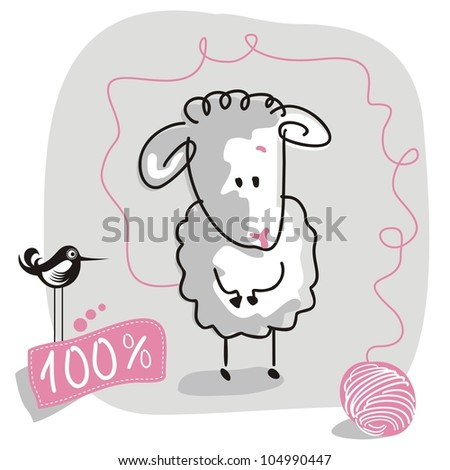 Cute doodled sheep with wool quality label
