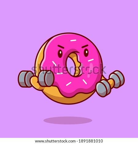 Cute Doughnut Lifting Dumbbell Cartoon Vector Icon Illustration. Food Healthy Icon Concept Isolated Premium Vector. Flat Cartoon Style