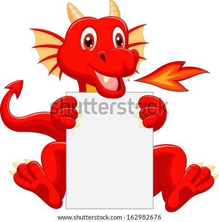 cute dragon cartoon holding