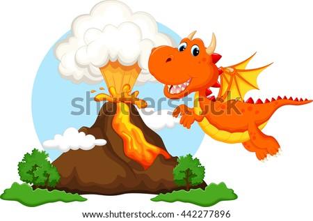 cute dragon cartoon with