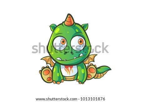 cute dragon character thinking