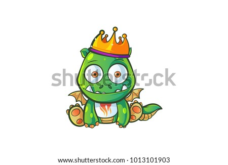 Cute Dragon Character . Vector Illustration. Isolated on white background.