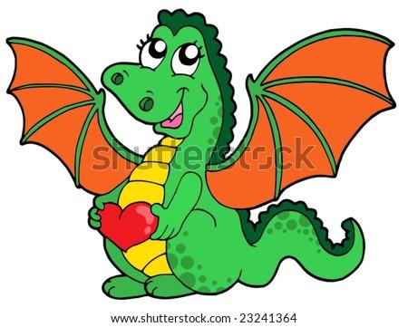 Cute dragon girl with heart - vector illustration.
