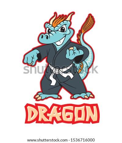 cute dragon in kimono  vector