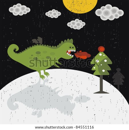 Cute dragon new year card. Background in vector.
