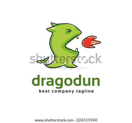 cute dragon silhouette logo