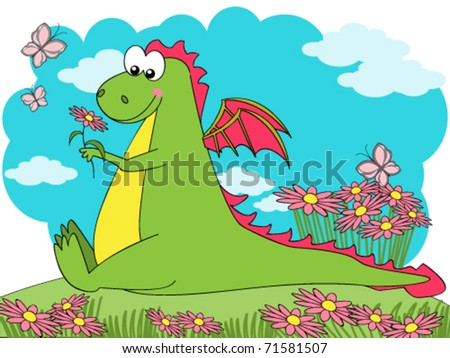 Cute dragon sitting on a flowered meadow
