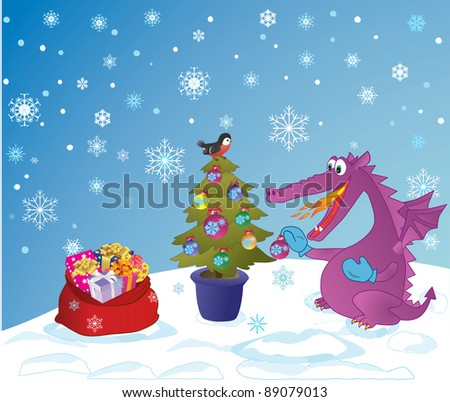 Cute Dragon, symbol 2012 year, decorate a fir-tree. Sack with presents