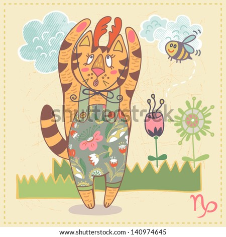 Cute drawing of a zodiac symbol with funny cat - Capricorn. One of a set. Vector illustration. - stock vector