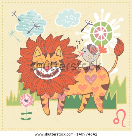 Cute drawing of a zodiac symbol with funny cat -  Leo. One of a set. Vector illustration.