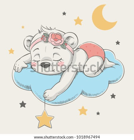 cute dreaming bear cartoon hand ...