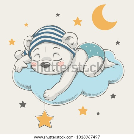 Cute dreaming bear cartoon hand drawn vector illustration. Can be used for t-shirt print, kids wear fashion design, baby shower invitation card. - Shutterstock ID 1018967497