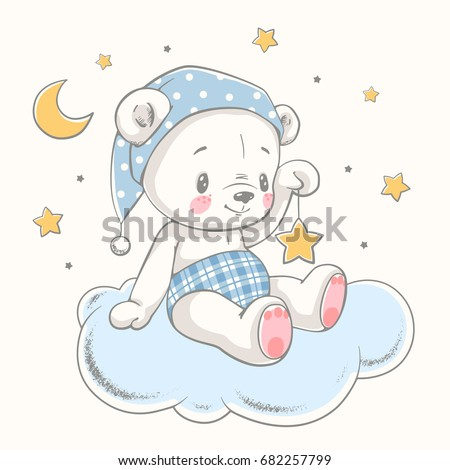 Cute dreaming bear cartoon hand drawn vector illustration. Can be used for t-shirt print, kids wear fashion design, baby shower celebration greeting and invitation card.