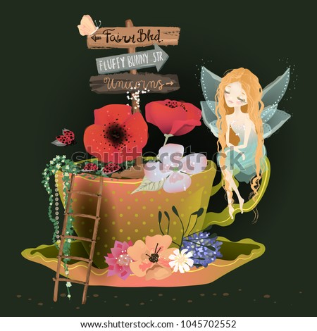 cute dreaming fairy sitting on