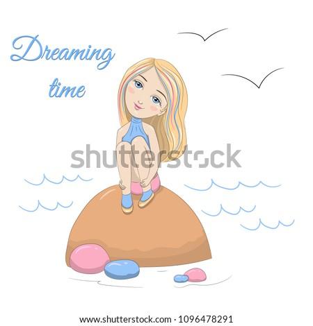 cute dreamy girl sitting on a