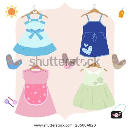 Cute dress for girls, there are four types for a day trip.