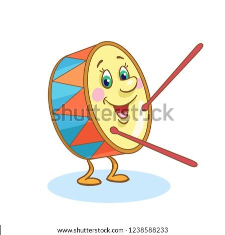 Cute drum - percussion musical instrument in cartoon style isolated on white background.