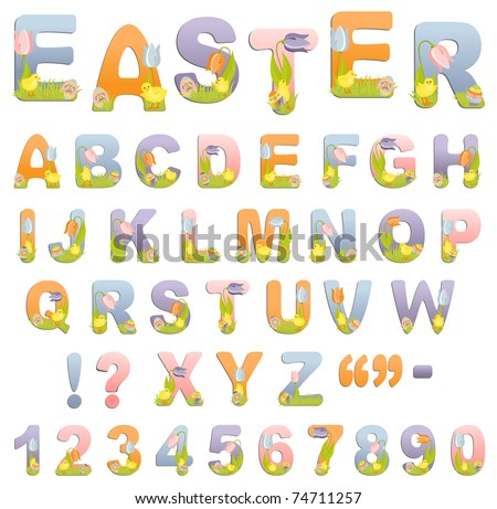Cute easter ABC alphabet (EPS10)