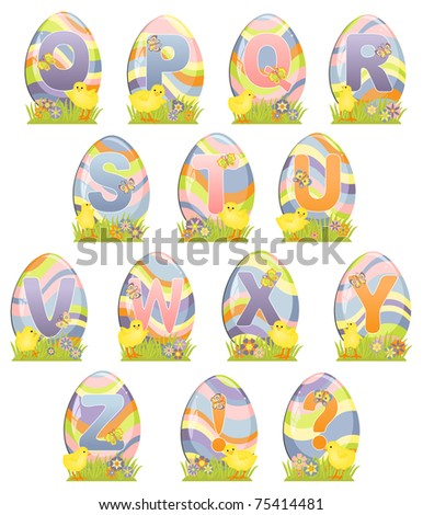 Cute Easter alphabet with eggs (EPS10)