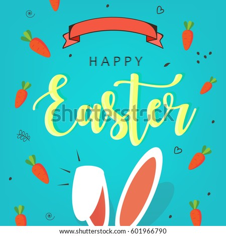 """Cute Easter Bunny Ears with stylish text on decorative background with ribbon for the celebration of Christian Festival """"Happy Easter""""."""