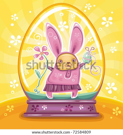 Cute Easter Bunny inside of snow-dome or crystal ball