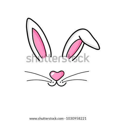 Cute easter bunny vector illustration, hand drawn face of bunny. Ears and tiny muzzle with whiskers. Isolated on white background.